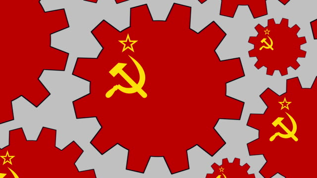 former soviet union flag gears spinning background zooming out - former soviet union stock videos & royalty-free footage