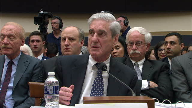 former special counsel robert mueller comments on charging the president with a crime after he left office during his testimony before the house... - testimony stock videos & royalty-free footage