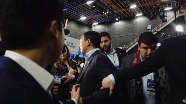 former tech executive andrew yang, speaks with the media after the democratic presidential debate at tyler perry studios november 20, 2019 in... - msnbc stock videos & royalty-free footage