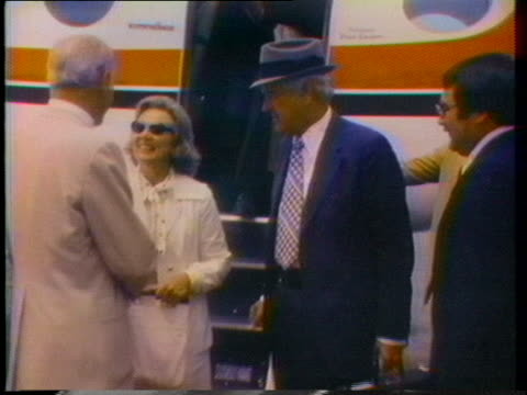 former texas governor john connally and his wife exit a passenger plane and greet several gop officials in alabama - john connally stock videos & royalty-free footage