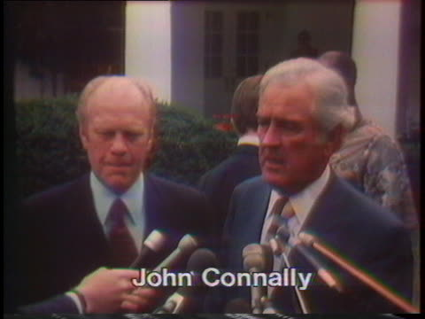 former texas governor john connally endorses gerald ford for president and states that the nomination should be concluded as quickly as possible - john connally stock videos & royalty-free footage