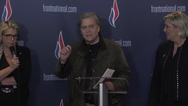 former top trump aide steve bannon tells the french far right that history is on our side as he addresses the party conference of a national front... - lille stock videos & royalty-free footage