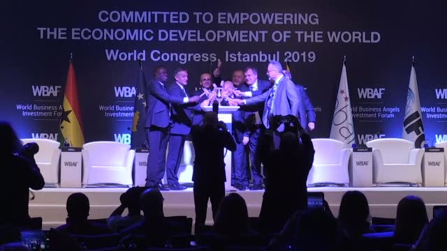 former turkish finance minister mehmet simsek and wbaf chairman baybars altuntas speak at a roundtable meeting during the world business angels... - round table discussion stock videos & royalty-free footage