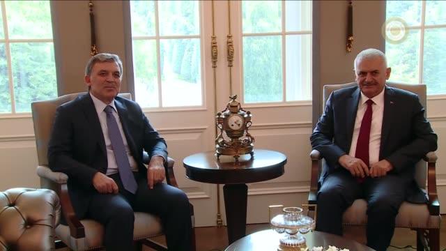former turkish president abdullah gul meets with prime minister binali yildirim at cankaya palace in ankara, turkey on july 21, 2016. - former stock videos & royalty-free footage