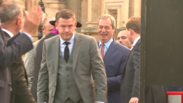 former ukip aide faces money laundering charges in arizona r24061604 / 2462016 westminster farage arriving to address leave suporters after the... - 2016 european union referendum stock videos and b-roll footage