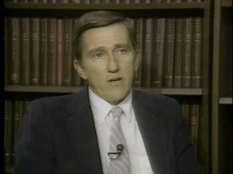 former united states navy secretary john lehman talks about american resentment towards european allies who refuse to commit forces to the persian... - (war or terrorism or election or government or illness or news event or speech or politics or politician or conflict or military or extreme weather or business or economy) and not usa video stock e b–roll