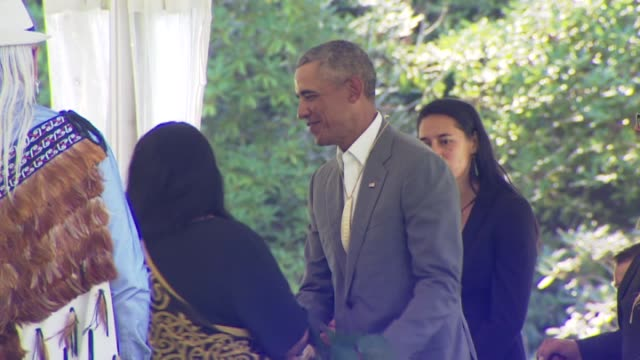 former united states president barack obama receiving a whalebone pendant during a maori welcome - pendant stock videos & royalty-free footage