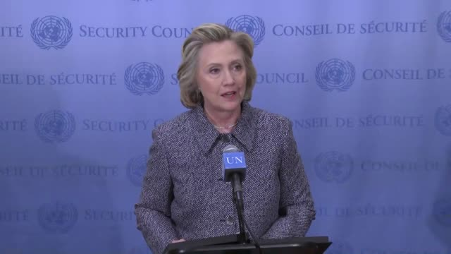 Former United States Secretary of State Hillary Clinton speaks to press after Annual Women's Empowerment Principles Conference at UN Headquarters in...