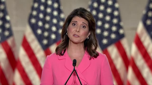 former us ambassador and south carolina governor nikki haley says in remarks to the 2020 republican national convention that we seek a nation that... - pursuit concept stock-videos und b-roll-filmmaterial