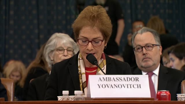 former us ambassador to ukraine marie yovanovitch tells the house select intelligence committee in prepared testimony at the second public... - serious stock videos & royalty-free footage