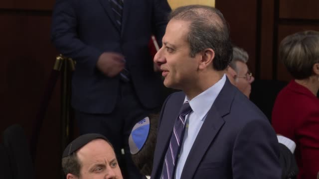 former us attorney general for new york preet bharara sits behind former fbi director james comey march 12 2017 us president donald trump fired... - raised eyebrows stock videos & royalty-free footage