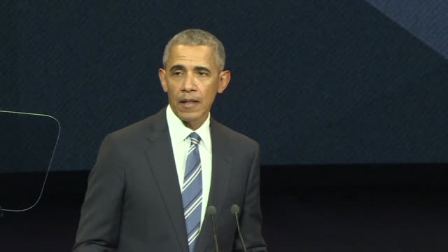 Former US President Barack Obama says that there is a temporary absence of American leadership on climate change during a speech in Paris