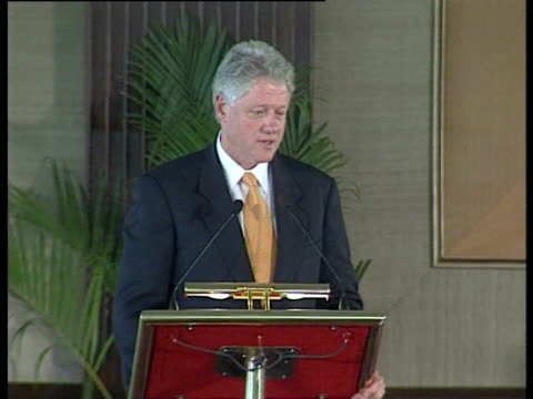 former us president bill clinton speaks at a press conference in new delhi, india. - former stock videos & royalty-free footage