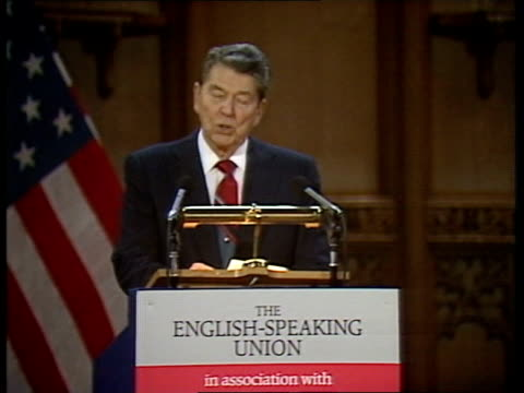 former us president reagan speech at english speaking union; int england: london: guildhall: cms reagan speech sof communications revolution will be... - former stock videos & royalty-free footage