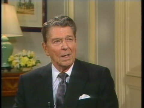 former us president ronald reagan discusses conflict in china. - business or economy or employment and labor or financial market or finance or agriculture stock videos & royalty-free footage