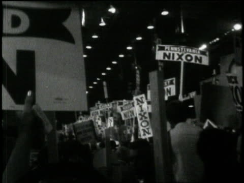 former us republican presidentelect richard m nixon won and accepted his party's nomination at the 1968 republican national convention held in miami... - republican national convention stock videos & royalty-free footage