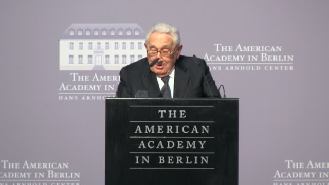 Former US Secretary of State Henry Kissinger jokes about his colleague the former President of Italy Giorgio Napolitano during the Henry A Kissinger...