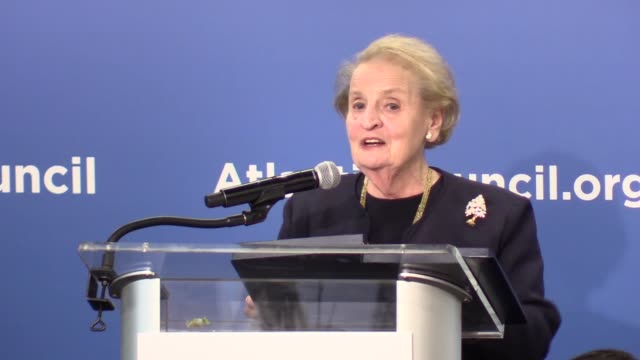 former us secretary of state madeleine albright and former us national security advisor stephen hadley speak during a discussion on a new approach... - national security agency usa stock videos and b-roll footage