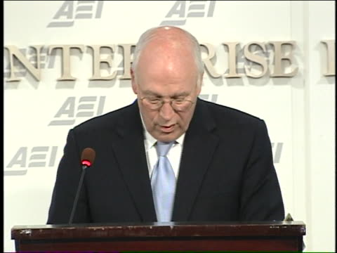 former u.s. vice president dick cheney gives a speech about keeping america safe at the american enterprise institute. - dick cheney stock videos & royalty-free footage