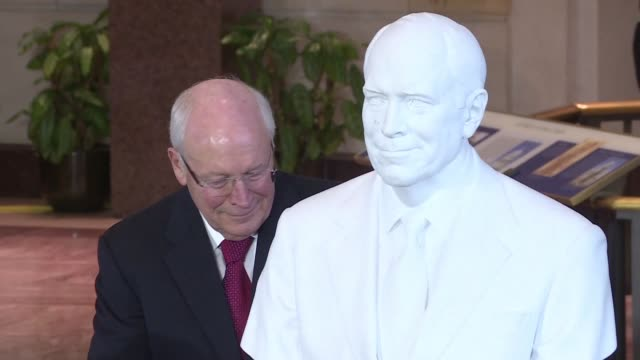 former us vice president dick cheney unveiled a marble bust of himself at the us congress on thursday in a ceremony attended by former us president... - dick cheney stock videos & royalty-free footage