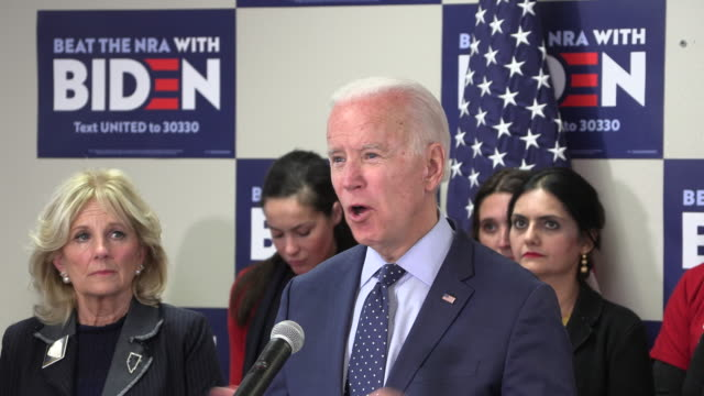 former vice president and democratic presidential candidate hopeful joe biden speaks about his plans to fight gun violence, and the national rifle... - rifle stock videos & royalty-free footage