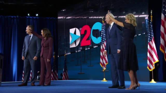 former vice president joe biden and california senator kamala harris are joined by jill biden and douglas emhoff to smile and wave after harris'... - nomination stock videos & royalty-free footage