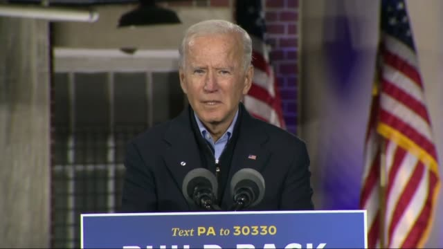 former vice president joe biden tells supporters at an outdoor car rally by johnstown amtrak train station that he will work like crazy to get the... - awe stock videos & royalty-free footage