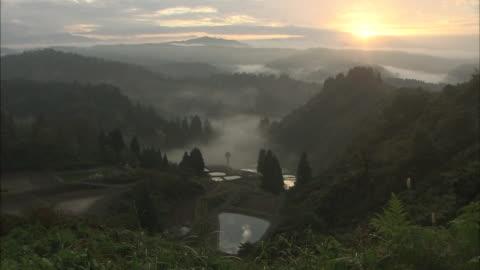former village of yamakoshi in the morning, niigata, japan - satoyama scenery stock videos & royalty-free footage
