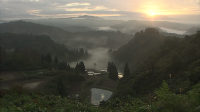 former village of yamakoshi in the morning, niigata, japan - satoyama scenery stock videos & royalty-free footage