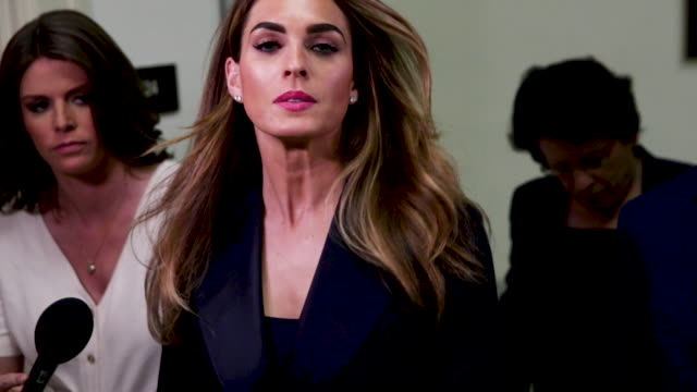 former white house communications director hope hicks on her way to return to the hearing room during a break at a closeddoor interview with the... - testimony stock videos & royalty-free footage