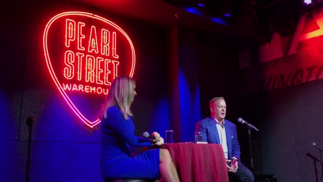 former white house press secretary sean spicer speaks about his new book 'the briefing: politics, the press, and the president,' during a discussion... - früherer stock-videos und b-roll-filmmaterial