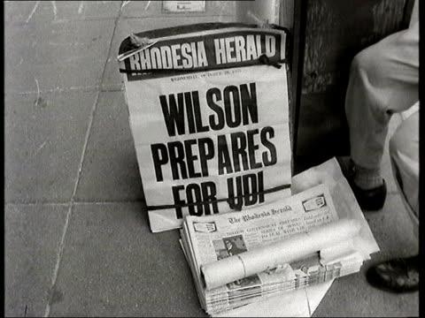 Former white Rhodesian leader Ian Smith dies RHODESIA Salisbury Rhodesia Herald headline boards reading 'Rhodesia waits in suspense' and 'Wilson...