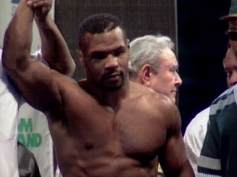 former world heavyweight boxing champion mike tyson at weighin ahead of fight - mike tyson boxer stock videos and b-roll footage