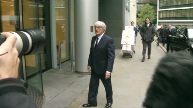 Formula 1 Chief Executive Bernie Ecclestone walking into court to contest a civil lawsuit by German media company Constantin Medien in the High Court...