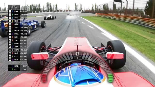 POV Formula driver in live coverage of the race