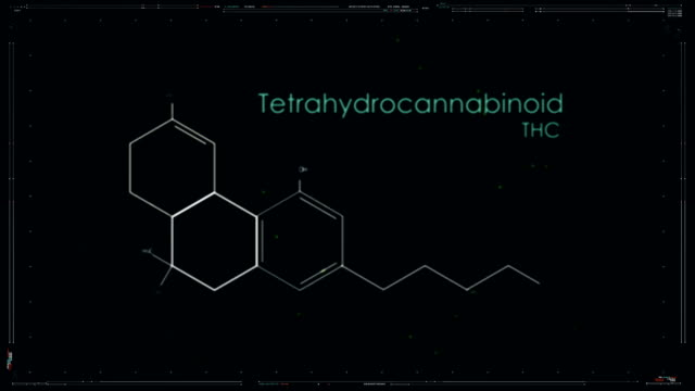 THC Formula of cannabis component. Medical Research