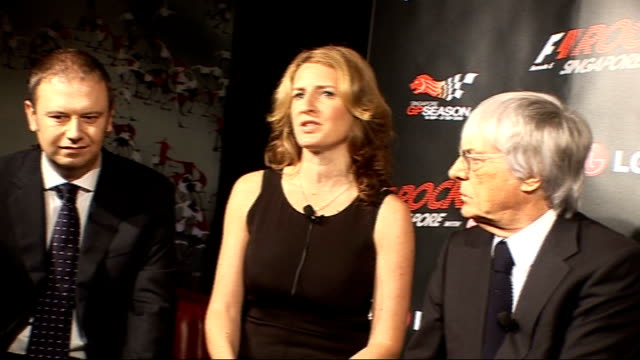 formula one: bernie ecclestone press conference; england: london: int bernie ecclestone with others at press conference / f1 rocks spokeswoman... - bernie ecclestone stock videos & royalty-free footage