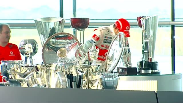 formula one world champion lewis hamilton returns to mclaren headquarters england surrey woking int ** warning lewis hamilton standing on top of his... - formula one racing stock videos & royalty-free footage