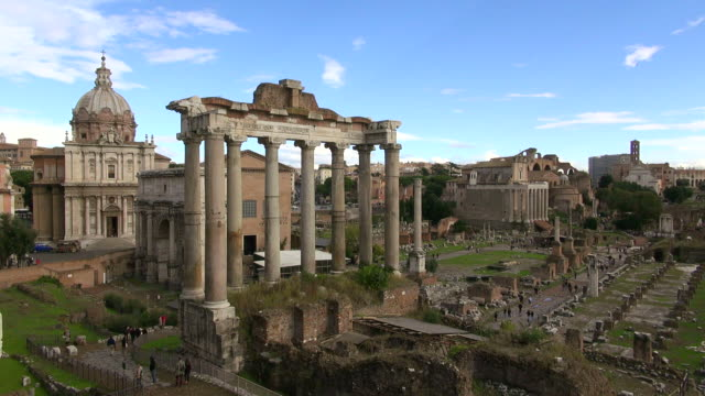 WS Foro Romano surrounded by ruins of several important ancient government buildings / Rome, Latium, Italy