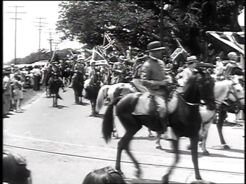 forrest cavalry veterans marching on horseback during confederate reunion / biloxi mississippi usa - confederate flag stock videos & royalty-free footage
