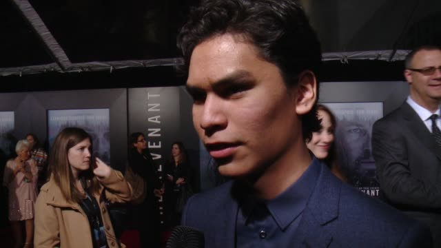 """forrest goodluck at the """"the revenant"""" los angeles premiere on what it means to have his movie premier at the iconic tcl chinese theatre, on what it... - tcl chinese theatre stock videos & royalty-free footage"""