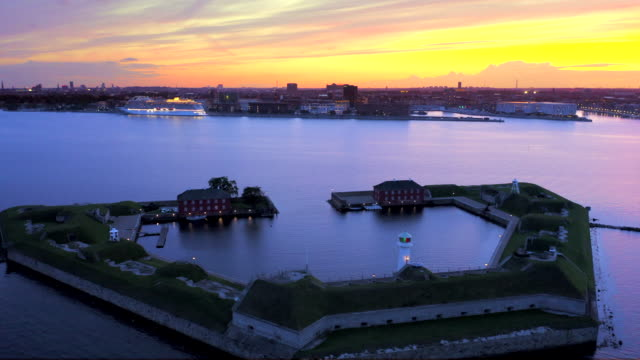 fort at copenhagen harbour - copenhagen video stock e b–roll