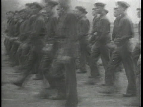 fort benning sign / troops marching / troops in training with wooden guns / trucks with tank signs on them - fort benning video stock e b–roll