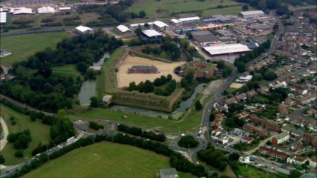 fort brockhurst  - aerial view - england, hampshire, gosport district, united kingdom - fortress stock videos and b-roll footage
