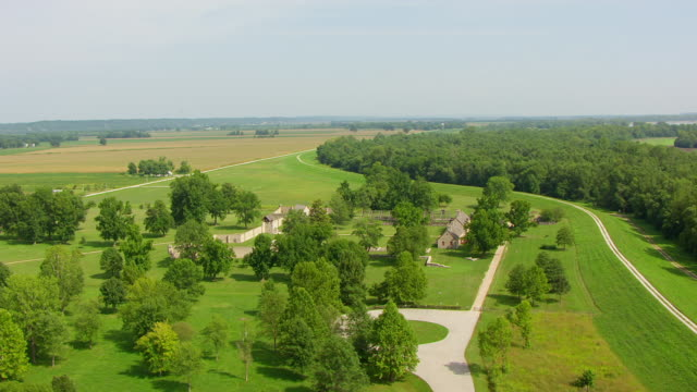WS AERIAL POV Fort de Chartres with farmland in backgrounds / Prairie du Rocher, Randolph County, Illinois, United States