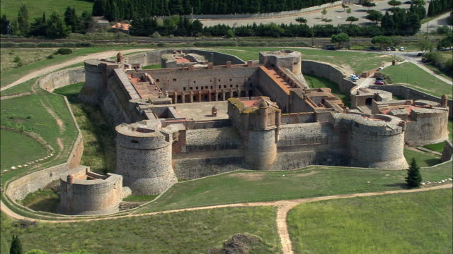 aerial, fort de salses, languedoc-roussillon, france - circa 15th century stock videos & royalty-free footage