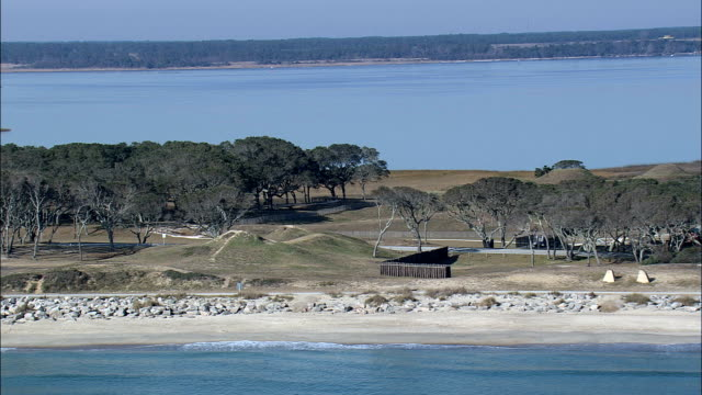 fort fisher  - aerial view - north carolina,  new hanover county,  united states - tree fort stock videos & royalty-free footage