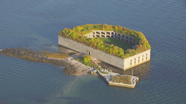 WS AERIAL POV Fort Gorges in Casco Bay / Portland, Maine, United States
