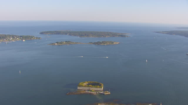 ws aerial pov fort gorges in casco bay / portland, maine, united states - tree fort stock videos & royalty-free footage