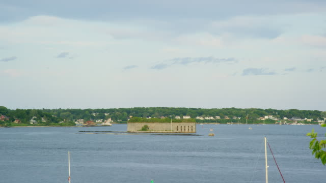 fort gorges (island) in the middle of casco bay, maine on a partly cloudy day (atlantic ocean) - fortress stock videos & royalty-free footage
